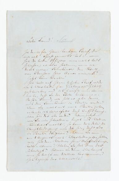View 1. Thumbnail of Lot 139. WAGNER. Lettre autographe signée, en allemand, au chef d'orchestre Rudolf Schöneck.