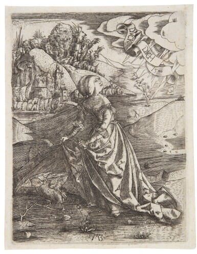 View 2. Thumbnail of Lot 39. The King's Three Sons Shooting at their Father's Corpse; and The Woman with an Owl (Bartsch 4, 21).