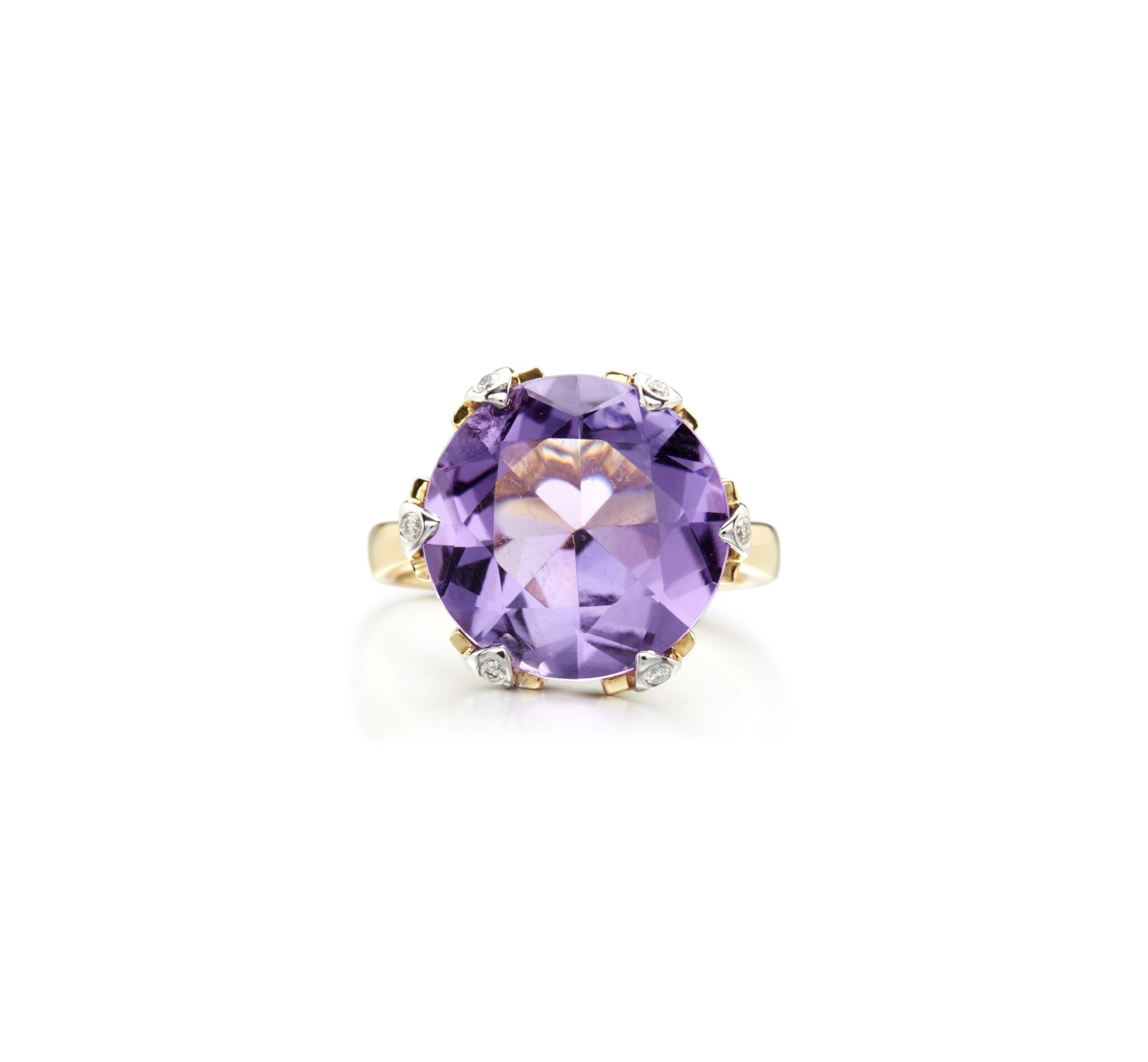 View full screen - View 1 of Lot 6. AMETHYST AND DIAMOND RING.