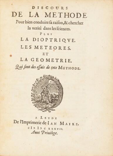 View 3. Thumbnail of Lot 15. Discours de la méthode. Leyde, Ian Maire, 1637. In-4. Reliure de l'époque. Edition originale..