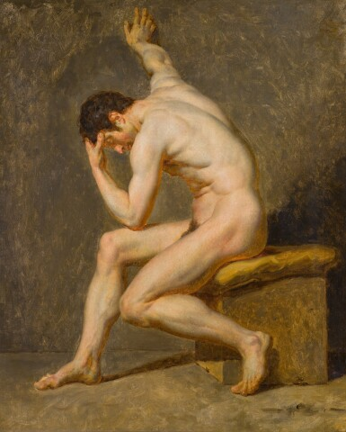 View 1. Thumbnail of Lot 116. A seated male nude in contrapposto.
