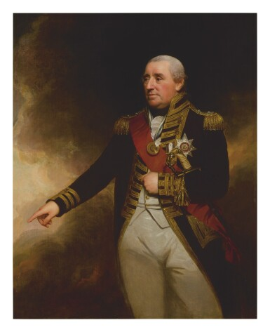 SIR WILLIAM BEECHEY, R.A. | PORTRAIT OF ADMIRAL SIR JOHN THOMAS DUCKWORTH, 1ST BARONET (1748 - 1817), THREE-QUARTER LENGTH, IN NAVAL UNIFORM, WEARING THE BREAST STAR AND SASH OF THE ORDER OF BATH