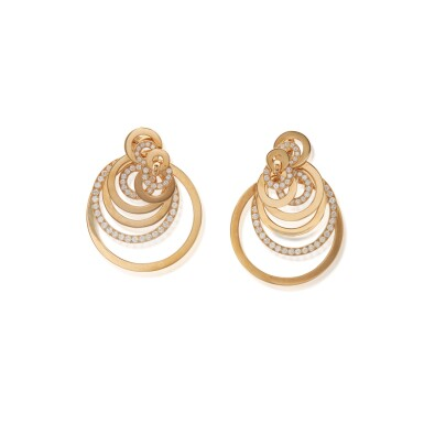 View 1. Thumbnail of Lot 503. de Grisogono | Pair of Gold and Diamond 'Gypsy' Pendant-Earclips.