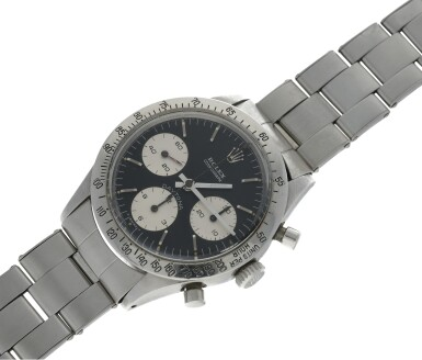 View 6. Thumbnail of Lot 4. ROLEX | REFERENCE 6239 BLUE DAYTONA  A STAINLESS STEEL CHRONOGRAPH WRISTWATCH WITH BRACELET, CIRCA 1967.
