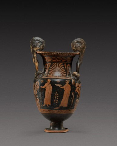 View 2. Thumbnail of Lot 33. An Apulian Red-figured Volute Krater, circa 350-330 B.C..