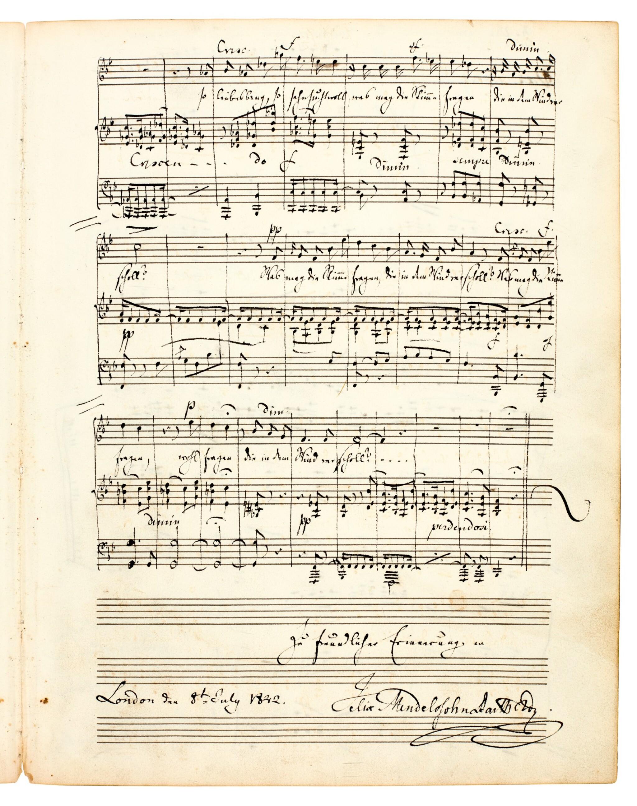 "View full screen - View 1 of Lot 23. F. Mendelssohn Bartholdy. Autograph manuscript of the song 'Im Frühling' (""Ich hör' ein Vöglein locken""), London 1842."