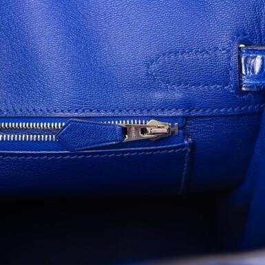 View 9. Thumbnail of Lot 7. Hermès Bleu Electrique Birkin 30cm of Shiny Porosus Crocodile with Palladium Hardware.