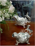TWO MATCHING ROYAL EARLY VICTORIAN SILVER SAUCE BOATS, MORTIMER & HUNT, LONDON, 1842