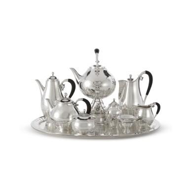 AN EIGHT-PIECE DANISH SILVER COSMOS PATTERN TEA SET ON TRAY, NO. 45, DESIGNED BY JOHAN ROHDE, GEORG JENSEN SILVERSMITHY, COPENHAGEN, CIRCA 1925-32