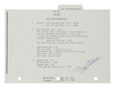 View 2. Thumbnail of Lot 45. [Apollo 11] — Lunar Surface Flown Checklist sheet with notations by Neil Armstrong.