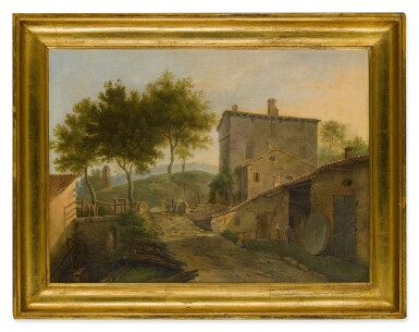 View 3. Thumbnail of Lot 104. Village landscape with a mill and various figures.