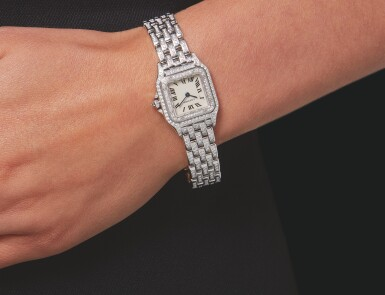 View 3. Thumbnail of Lot 35. CARTIER | REF 1660 PANTHÉRE, A LADY'S WHITE GOLD AND DIAMOND SET WRISTWATCH WITH BRACELET CIRCA 2010.