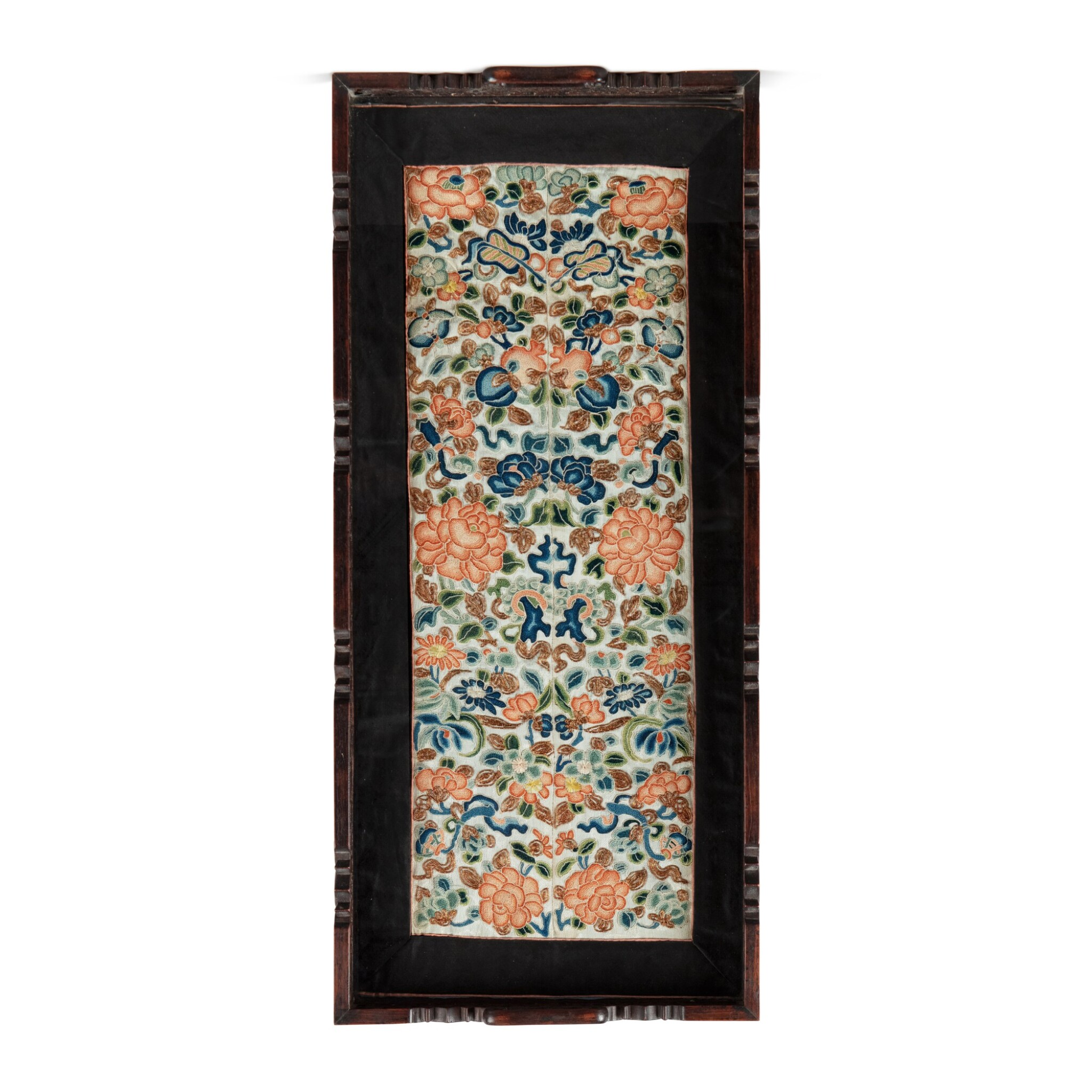 View full screen - View 1 of Lot 47. A pair of silk embroidered 'floral' sleeve band trims, Qing dynasty, 19th century.