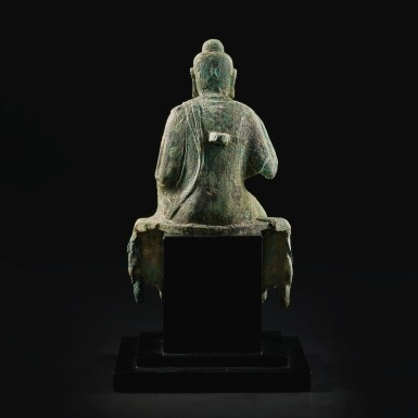 View 5. Thumbnail of Lot 585. A BRONZE FIGURE OF BUDDHA,  TANG DYNASTY.