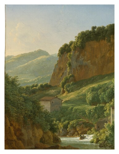 View 1. Thumbnail of Lot 44. Sold Without Reserve   JEAN-JOSEPH-XAVIER BIDAULD    VIEW OF THE RAVINE AT SAN COSIMATO.