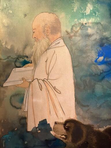 View 3. Thumbnail of Lot 8003. Zhang Daqian, Self Portrait with a Tibetan Mastiff ︳張大千  自畫像與黑虎.