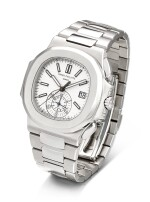 PATEK PHILIPPE   NAUTILUS, REFERENCE 5980 A STAINLESS STEEL FLYBACK CHRONOGRAPH BRACELET WATCH WITH DATE, CIRCA 2012