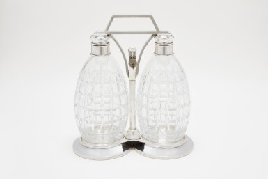 A PAIR OF SILVER-MOUNTED CUT-GLASS DECANTERS   T.G. HAWKES & CO., CORNING, NY   CIRCA 1920'S