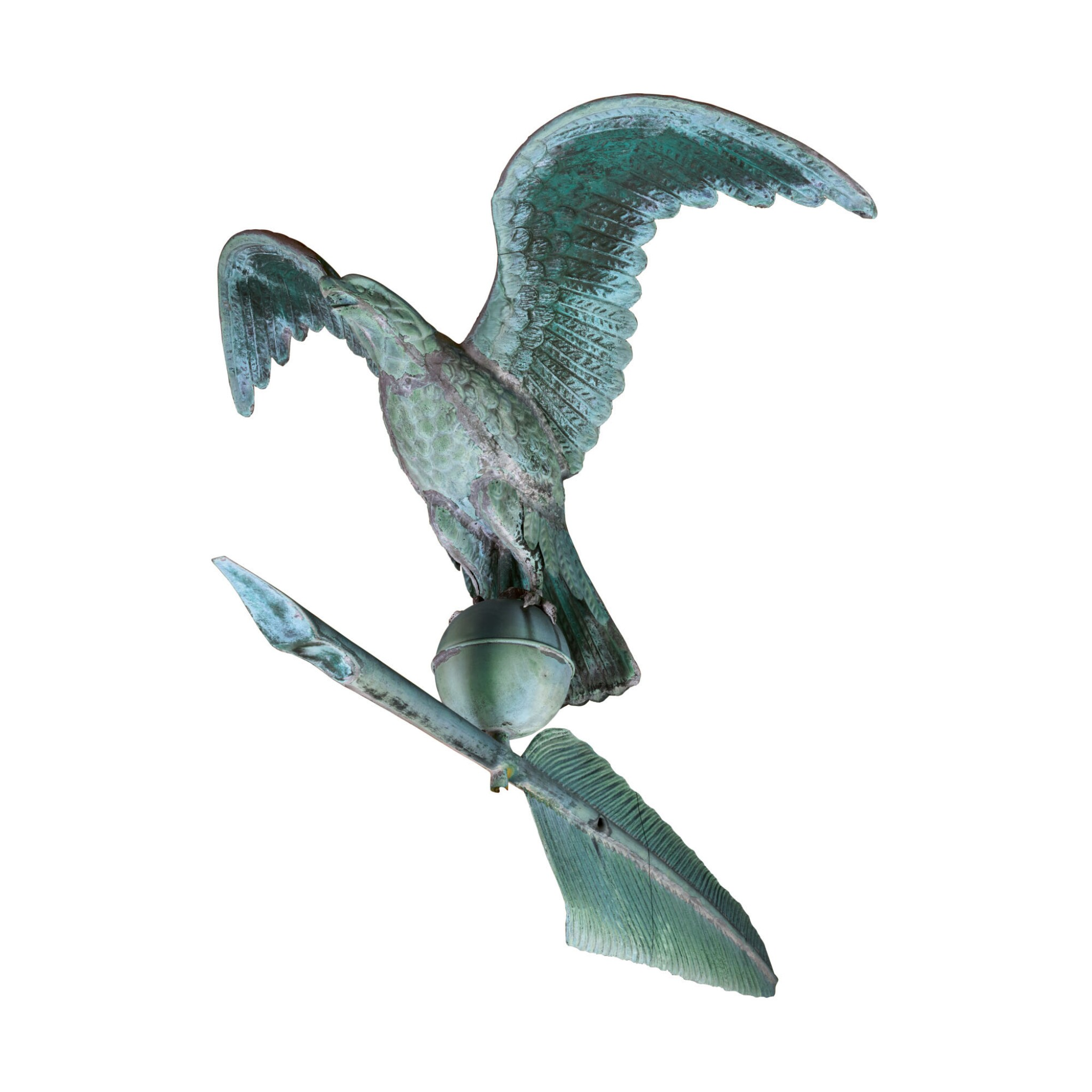 View full screen - View 1 of Lot 10. VERY FINE AND RARE MOLDED FULL BODIED SHEET COPPER EAGLE WITH QUILL WEATHERVANE, J.W. FISKE AND CO.,, NEW YORK, CIRCA 1885.