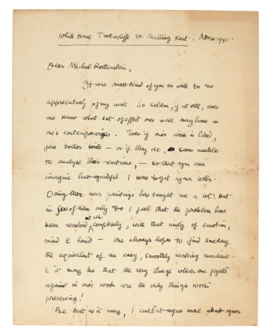 View 2. Thumbnail of Lot 202. M. ROTHENSTEIN   archive of c.95 letters by artists and writers to Rothenstein, chiefly 1940s.