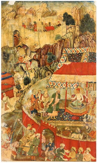 BAIRAM KHAN PETITIONS THE YOUNG AKBAR FOLLOWING THE SIEGE OF MANKOT IN 1557, ILLUSTRATED PAGE FROM THE 'FIRST' (VICTORIA AND ALBERT MUSEUM) AKBARNAMA, INDIA, MUGHAL, CIRCA 1590-95