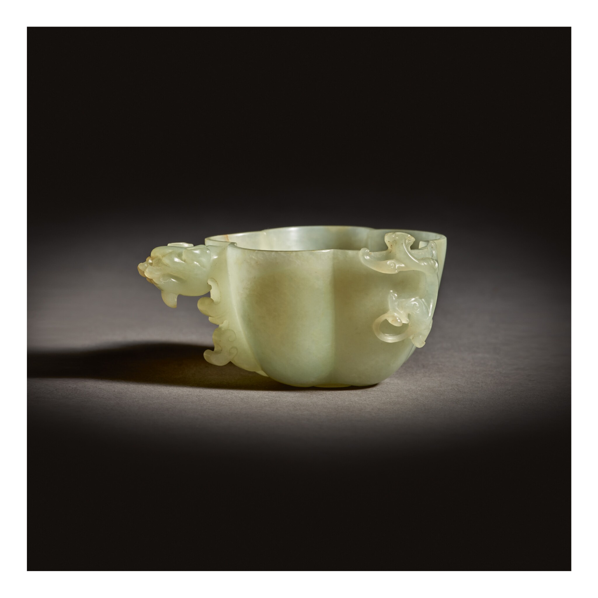 View full screen - View 1 of Lot 255. A RARE CELADON JADE 'CHILONG' WATER DROPPER,  MING DYNASTY.
