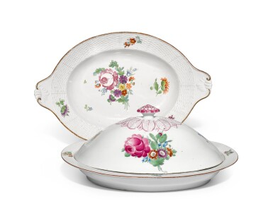View 1. Thumbnail of Lot 344. A porcelain tureen and serving dish from the Everyday service, Imperial Porcelain Factory, St Peterburg, period of Catherine the Great (1762-1796).