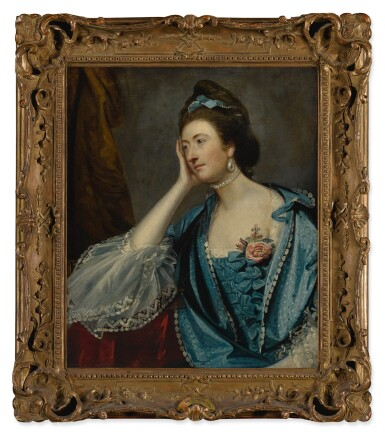 View 2. Thumbnail of Lot 642. SIR JOSHUA REYNOLDS P.R.A. | PORTRAIT OF A LADY, PROBABLY MISS JANE ASHTON, HALF LENGTH, IN A BLUE DRESS WITH WHITE LACE CUFFS.