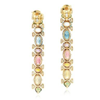 View 3. Thumbnail of Lot 102. Marina B | Pair of gem set and diamond earclips.