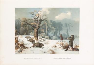 View 2. Thumbnail of Lot 110. Les chasses et le sport en Hongrie. [1857]. In-folio. Rel. de l'éditeur. Edition originale illustrée.