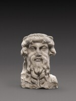 A Roman Marble Herm Bust of Priapos, circa 2nd Century A.D.