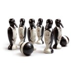 RARE SET OF SIX CARVED AND PAINTED WOOD PENGUIN TENPINS WITH TWO BALLS, EARLY 20TH CENTURY