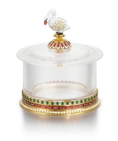 View 1. Thumbnail of Lot 40. A Fabergé gold, rock crystal and en plein enamel box, workmaster Michael Perchin, Moscow, circa 1890.