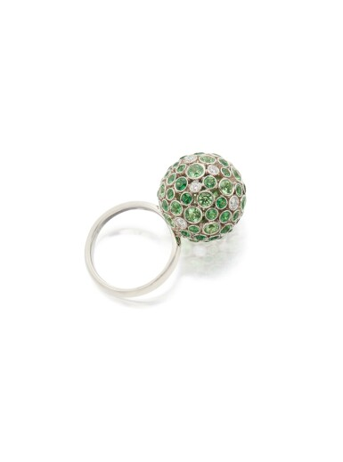 View 3. Thumbnail of Lot 14. TSAVORITE GARNET AND DIAMOND RING, TIFFANY & CO..