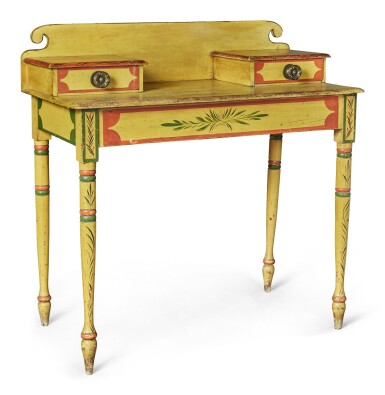 View 6. Thumbnail of Lot 318. Fine Classical Polychrome Paint-Decorated Pine Dressing Table, Maine, circa 1825-1840.