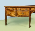 A GEORGE III SATINWOOD AND HAREWOOD DEMI-LUNE SIDEBOARD, LATE 18TH CENTURY