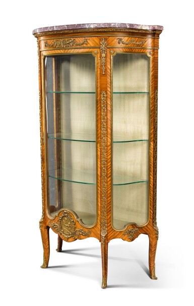 View 2. Thumbnail of Lot 17. A FRENCH GILT-BRONZE MOUNTED TULIPWOOD VITRINE, BY FRANÇOIS LINKE, CIRCA 1900.