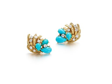 View 1. Thumbnail of Lot 1657. Pair of Turquoise and Diamond Ear Clips | 卡地亞 | 綠松石 配 鑽石 耳夾一對.