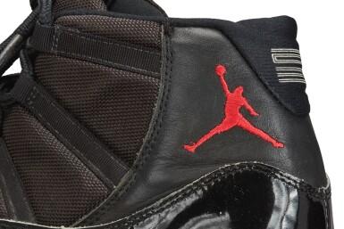 View 11. Thumbnail of Lot 17. Michael Jordan Playoff Game Worn and Dual Signed 'Player Sample' Air Jordan 11 'Bred' | Size 13.5.