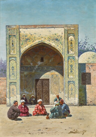 View 1. Thumbnail of Lot 23. RICHARD KARLOVICH ZOMMER | SCHOLARS IN FRONT OF A MADRASA.