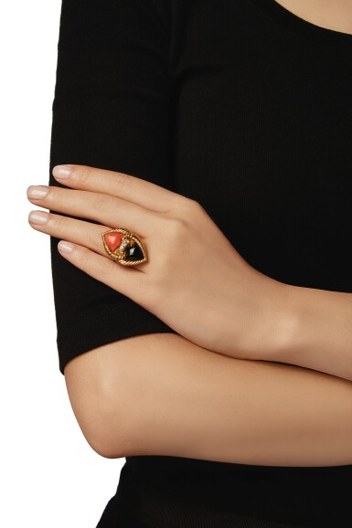 View 4. Thumbnail of Lot 22. CORAL, ONYX AND DIAMOND RING, VAN CLEEF & ARPELS, FRANCE.