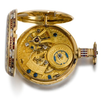 View 7. Thumbnail of Lot 293. EDOUARD JUVET, FLEURIER | A MATCHED PAIR OF FINE GOLD AND ENAMEL OPEN-FACED WATCHES MADE FOR THE CHINESE MARKET, CIRCA 1865, NO. 41981 AND 42308.