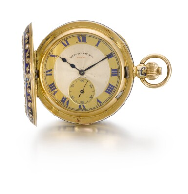 View 3. Thumbnail of Lot 228. WEST END WATCH CO.   A GOLD, ENAMEL AND DIAMOND-SET HALF-HUNTING CASED MINUTE REPEATING CLOCK WATCH MADE FOR THE INDIAN MARKET   CIRCA 1910.