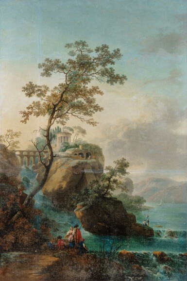 View 2. Thumbnail of Lot 179. A Landscape with an architectural capriccio of Tivoli; A Landscape with falls and a bridge.