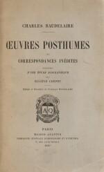 BAUDELAIRE. Œuvres posthumes et correspondances inédites. 1887. Mar. noir Huser. EO. 1/30 Hollande