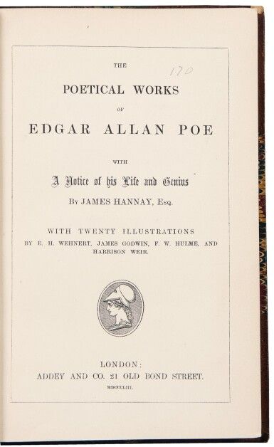 View 1. Thumbnail of Lot 49. [Dickens, Charles] — Edgar Allan Poe. Dickens personal copy of Poe's Poetical Works.