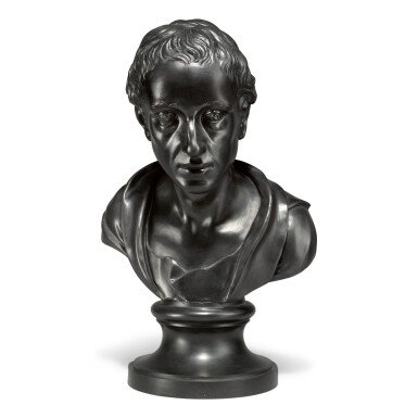 A WEDGWOOD AND BENTLEY BLACK BASALT BUST OF ALEXANDER POPE LATE 18TH CENTURY