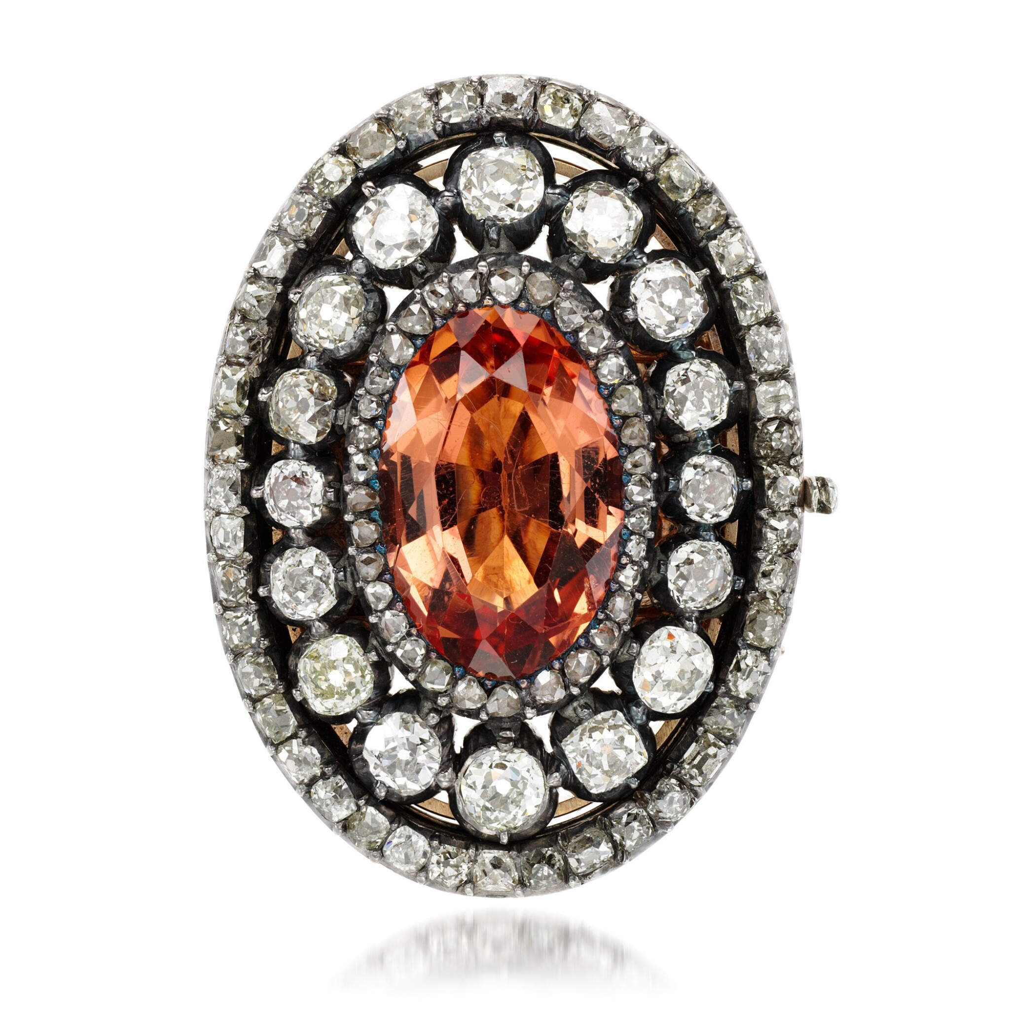 View full screen - View 1 of Lot 1. Topaz and diamond clasp, 1820s.