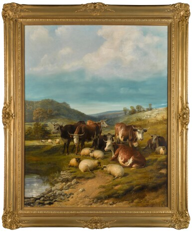 View 2. Thumbnail of Lot 144. Cattle and Sheep at a Watering Place.