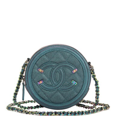 View full screen - View 1 of Lot 118. Chanel Iridescent Dark Turquoise Caviar Round Mini Crossbody Bag.